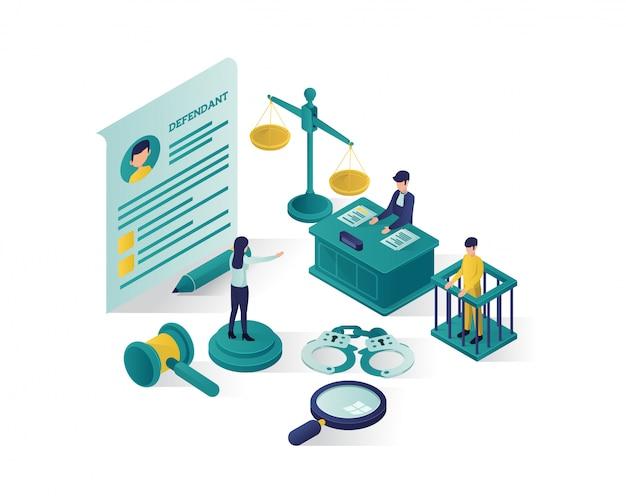 Ilustración isométrica de justicia y derecho, ilustración isométrica de bufete de abogados.