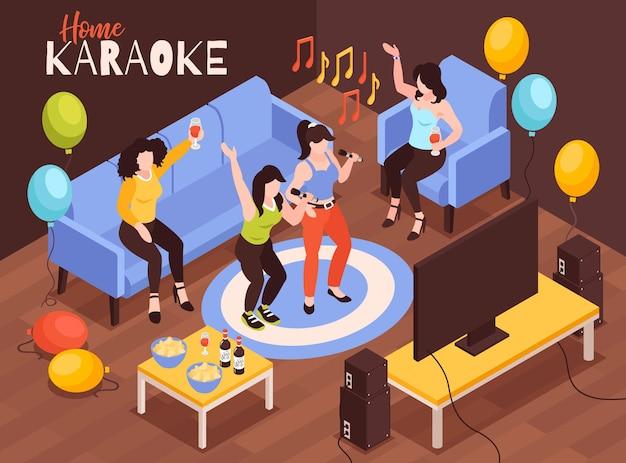 Ilustración isométrica de karaoke en casa