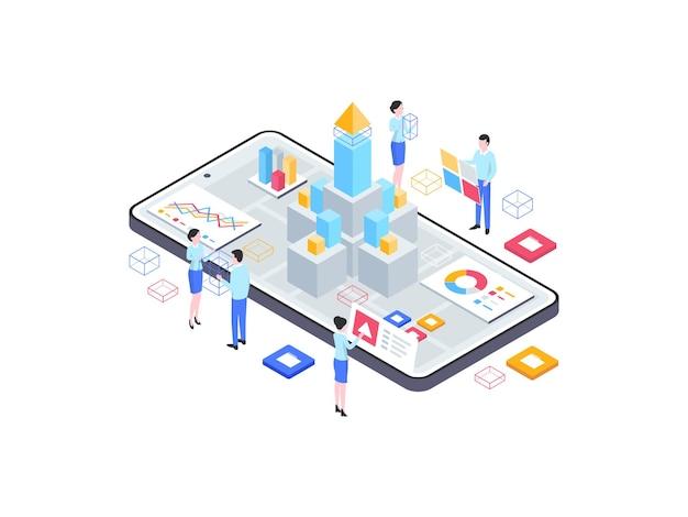 Ilustración isométrica de lanzamiento de producto. adecuado para aplicaciones móviles, sitios web, banners, diagramas, infografías y otros activos gráficos.