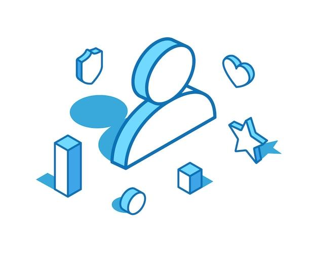 Ilustración isométrica de línea azul de usuario plantilla de banner 3d de hombre de persona humana