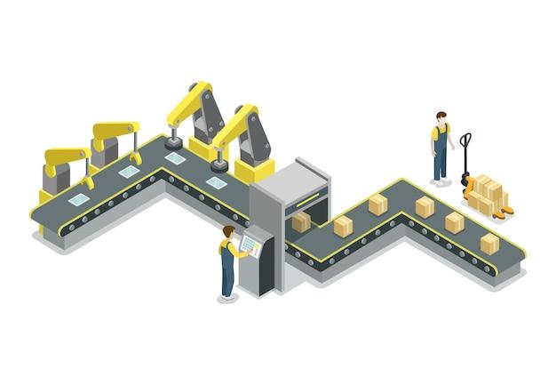 Ilustración isométrica de línea de producción de correa moderna