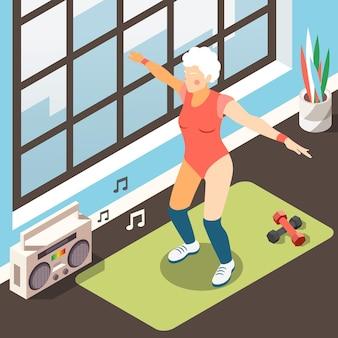 Ilustración isométrica de longevidad con anciana moderna en traje de fitness haciendo ejercicios físicos con acompañamiento musical