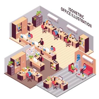 Ilustración isométrica de los lugares de trabajo de oficina