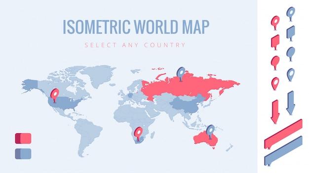 Ilustración isométrica del mapa mundial