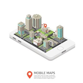 Ilustración isométrica de mapas móviles