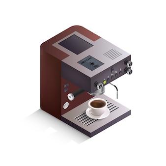 Ilustración isométrica de la máquina de café