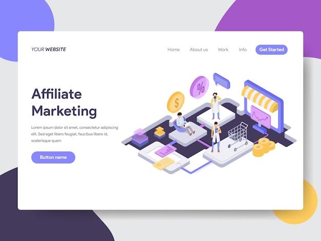 Ilustración isométrica de marketing de afiliación para páginas web