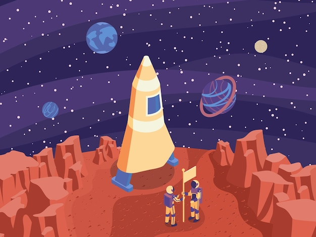 Ilustración isométrica de marte con cohete en marte y dos astronautas establecen la ilustración de la bandera