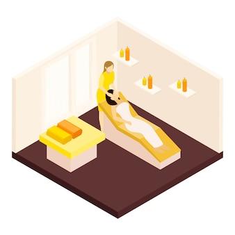 Ilustración isométrica del masaje facial
