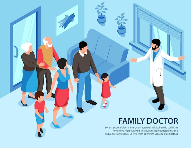 Ilustración isométrica del médico de familia con texto editable e interior del hogar con miembros de la familia y especialista médico