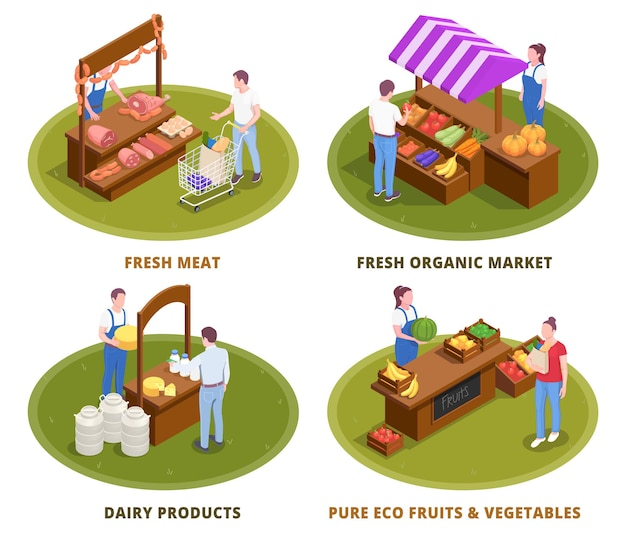 Ilustración isométrica del mercado de agricultores cuatro