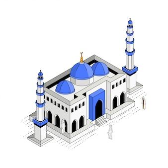 Ilustración isométrica de la mezquita de cúpula azul