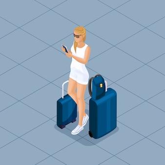 Ilustración isométrica de moda de personas y gadgets