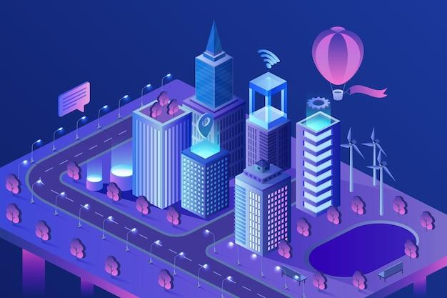 Ilustración isométrica moderna de la ciudad inteligente. edificios de rascacielos inteligentes con ia.