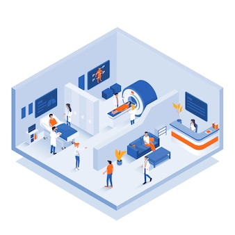Ilustración isométrica moderna - concepto médico