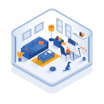 Ilustración isométrica moderna - concepto de oficina en casa