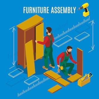 Ilustración isométrica de montaje de muebles