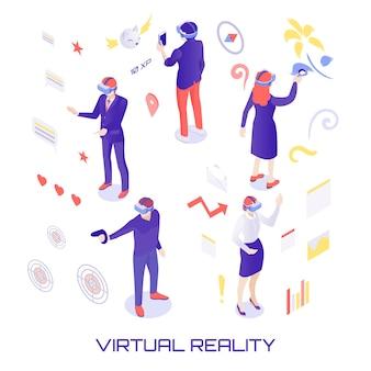 Ilustración isométrica del mundo virtual
