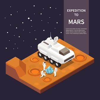 Ilustración isométrica con nave espacial y astronautas explorando marte.