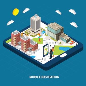 Ilustración isométrica de navegación móvil