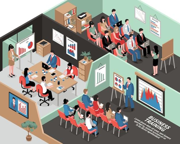Ilustración isométrica de negocios