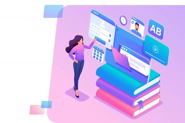 Ilustración isométrica de una niña usando la tableta para el aprendizaje en línea