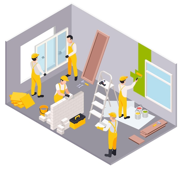 Ilustración isométrica de obras de reparación de renovación