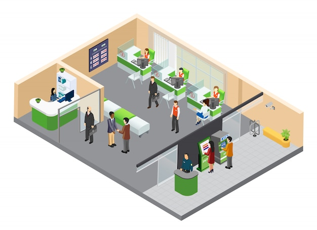 Ilustración isométrica de la oficina bancaria