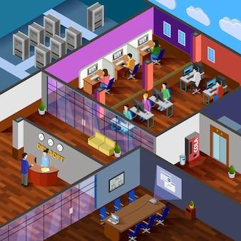 Ilustración isométrica de la oficina de desarrollo