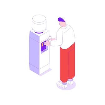 Ilustración isométrica con oficinista bebiendo agua de un enfriador 3d