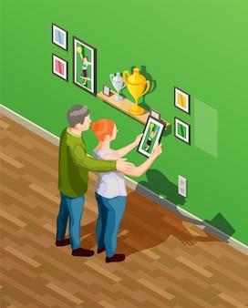 Ilustración isométrica de los padres