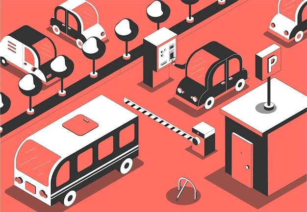 Ilustración isométrica de pago de entrada de estacionamiento
