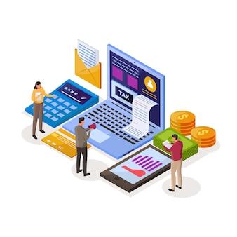Ilustración isométrica de pago de impuestos en línea