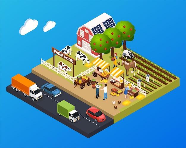 Ilustración isométrica del paisaje agrícola con casa de granero y mercado de agricultores y letrero de comida de granja