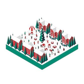 Ilustración isométrica en paisaje de navidad