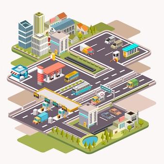Ilustración isométrica del paisaje urbano con estación de servicio, área de estacionamiento o área de descanso y puerta de la autopista