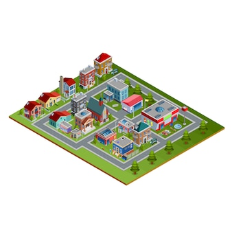 Ilustración isométrica del paisaje urbano