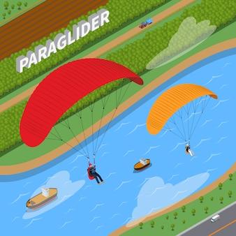 Ilustración isométrica de parapente