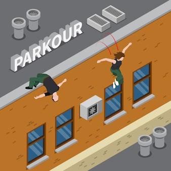 Ilustración isométrica de parkour