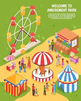 Ilustración isométrica del parque de atracciones