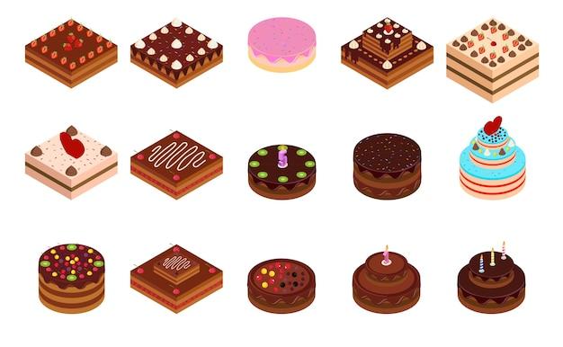 Ilustración isométrica de pastel dulce