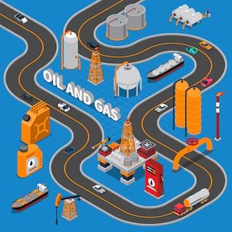 Ilustración isométrica de petróleo y gas