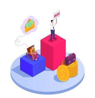 Ilustración isométrica con pilas de monedas, dinero en efectivo en sobres y personas.