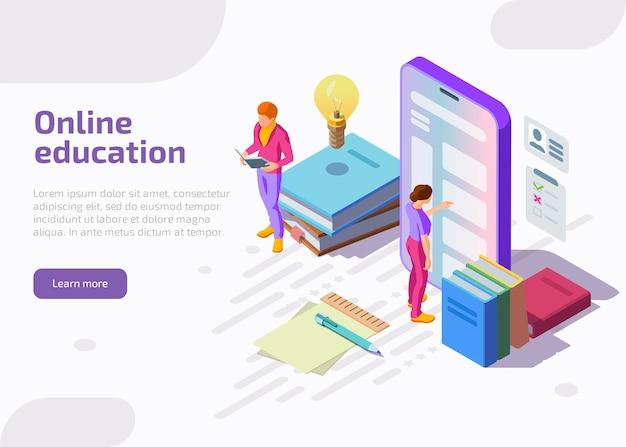 Ilustración isométrica plana de la educación en línea.