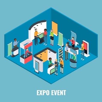 Ilustración isométrica plana de evento expo