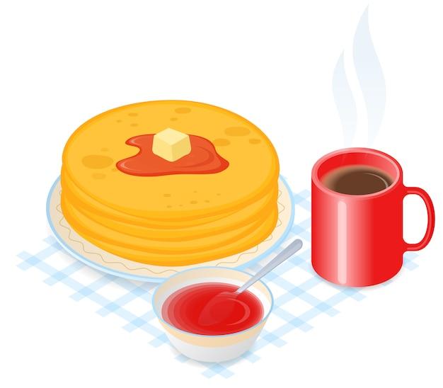 Ilustración isométrica plana de plato con panqueques, mermelada y café.