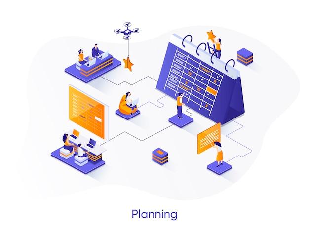 Ilustración isométrica de planificación empresarial con personajes de personas