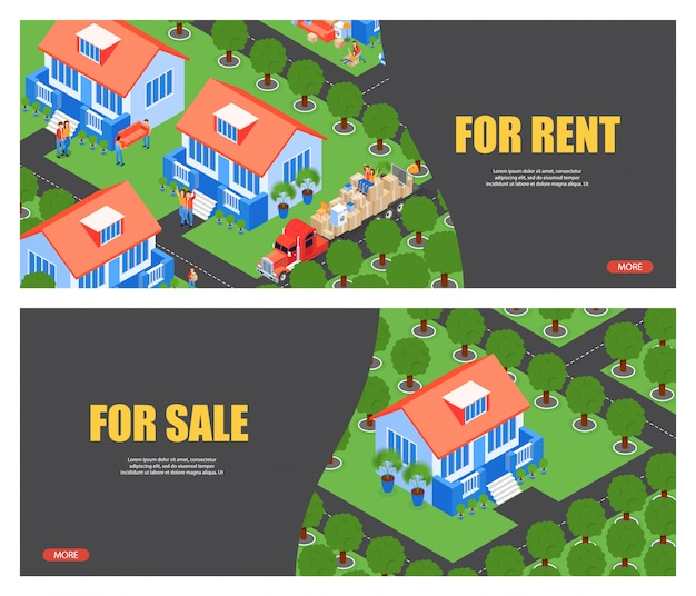 Ilustración isométrica para la plantilla de banner de alquiler y venta