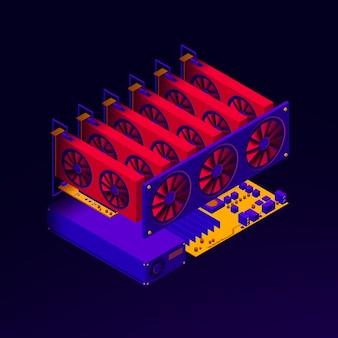 Ilustración isométrica de la plataforma de tarjetas gráficas para la granja minera de criptomonedas