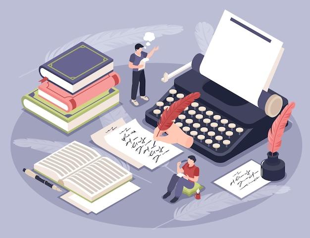 Ilustración isométrica de poesía con escritura y lectura de literatura.